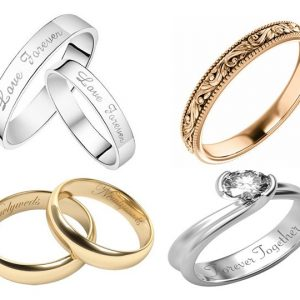 3d rotary laser engraving silver and gold ring